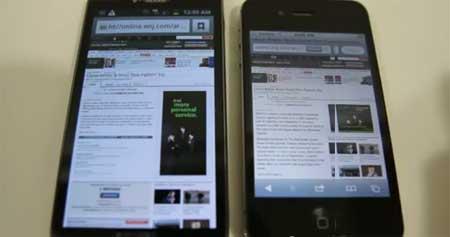 متصفح السفاري في الايفون 4 أس أسرع من جالاكسي