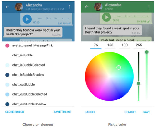 تحديث تطبيق Telegram ودعم ميزة الثيمات وتخصيص الواجهة