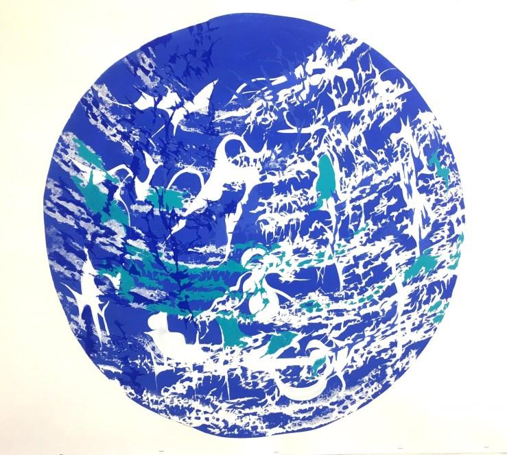 Tondo in Cobalt Blue and White, Milk paint on paper, 100  diameter 2016