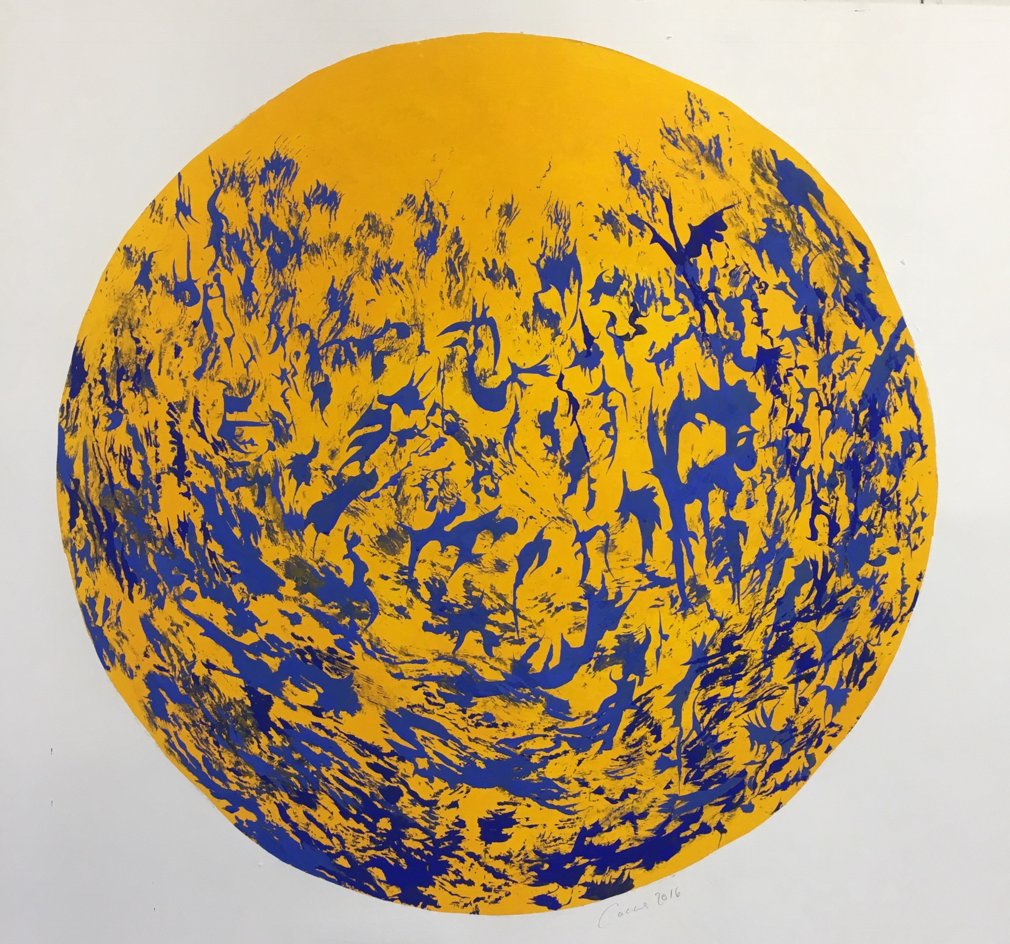Tondo in Yellow and Blue, Milk paint on paper, 100  diameter 2016