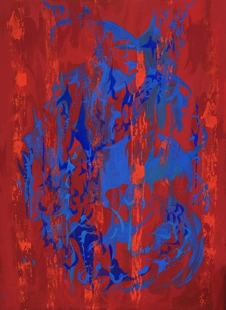 Composition in Blues and Reds 1, milk paint on canvas, 40 x 53 cm 2017