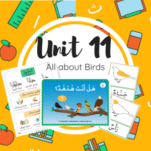 Unit 11 - birds theme for kids in Arabic printable book worksheets flashcards