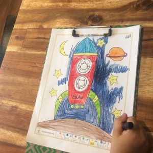 Arabic Alphabet rocket colouring from space unit