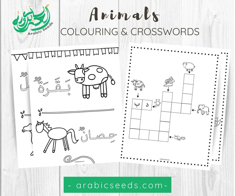 Animals Arabic Colouring Crosswords Printable Arabic Seeds Kids