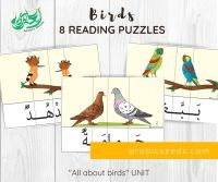 Arabic birds reading puzzles - themed unit - Arabic Seeds printables for kids-2