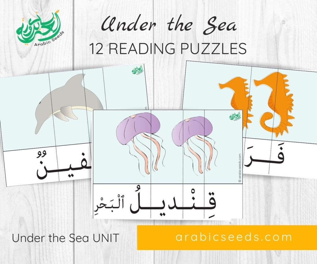 Under the Sea Arabic reading puzzles - themed unit - Arabic Seeds printables for kids