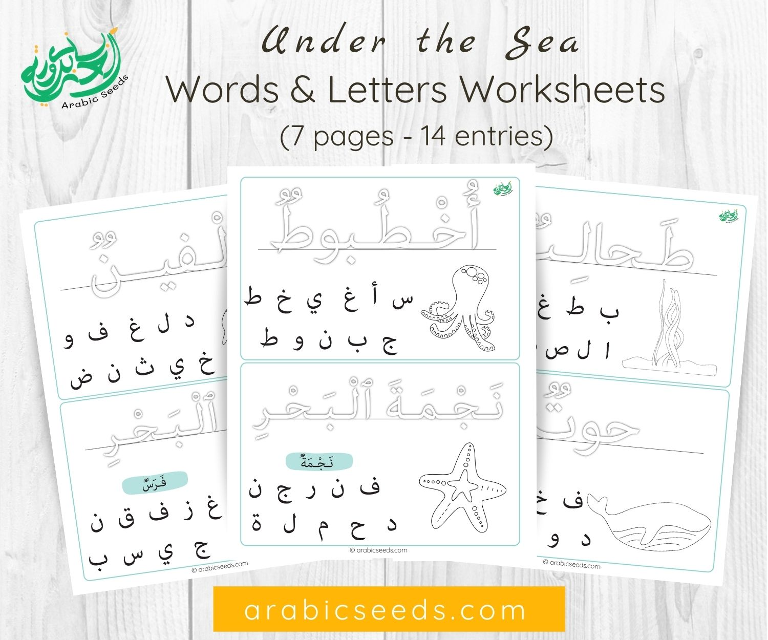 Under the Sea Worksheets - Words & letters recognition - arabic themed units
