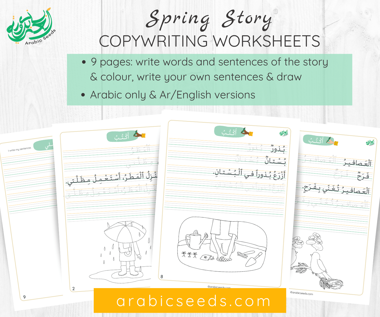 Arabic Spring story Copywriting Worksheets - Printable Resource - Arabic Seeds