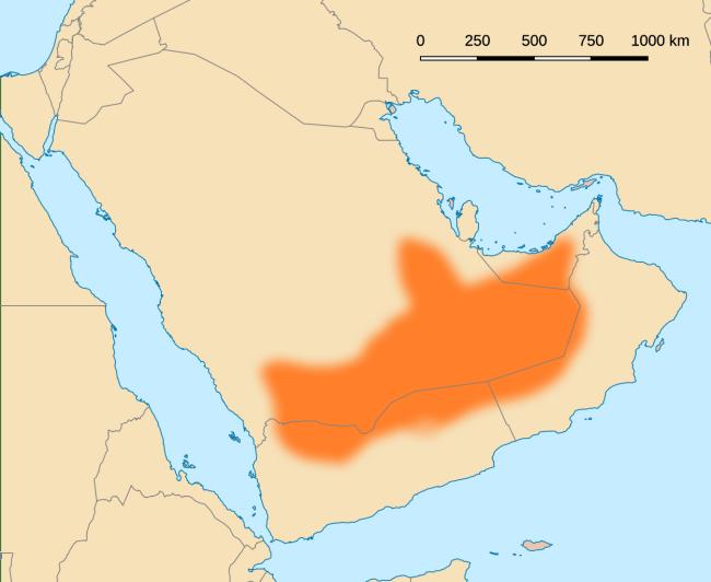 خريطة تظهر الربع الخالي جنوب شبه الجزيرة العربية، التي يشاع أن الأحقاف كانت بالقرب منها على حدود اليمن