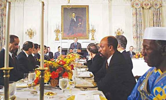 Former US President George W. Bush speaks in a Ramadan dinner Stock Photo