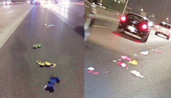 Lingerie items litter the Sixth Ring Road.