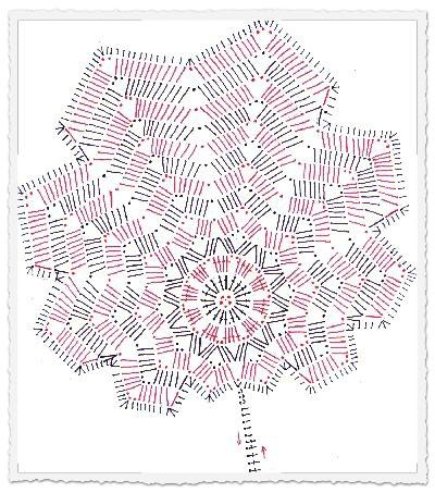 Szydełkowy liść - schemat