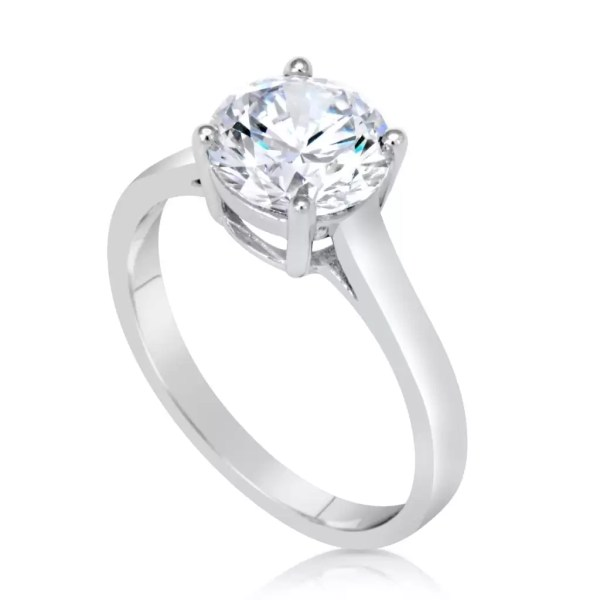 1 1/2 Ct Round Cut Diamond Solitaire Engagement Ring 18K White Gold