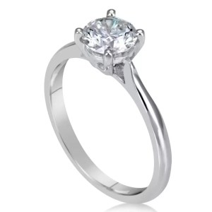 1 Carat Round Cut Diamond Engagement Ring 14K White Gold