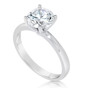 1.00 Ct Round Cut D/Vs Diamond Solitaire Engagement Ring 14K White Gold