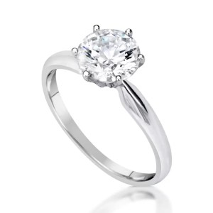 1.2 Carat Round Cut Diamond Engagement Ring 14K White Gold