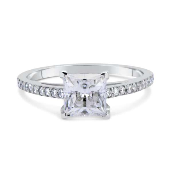 1.51 Ct Princess Cut Diamond Solitaire Engagement Ring 14K White Gold 3