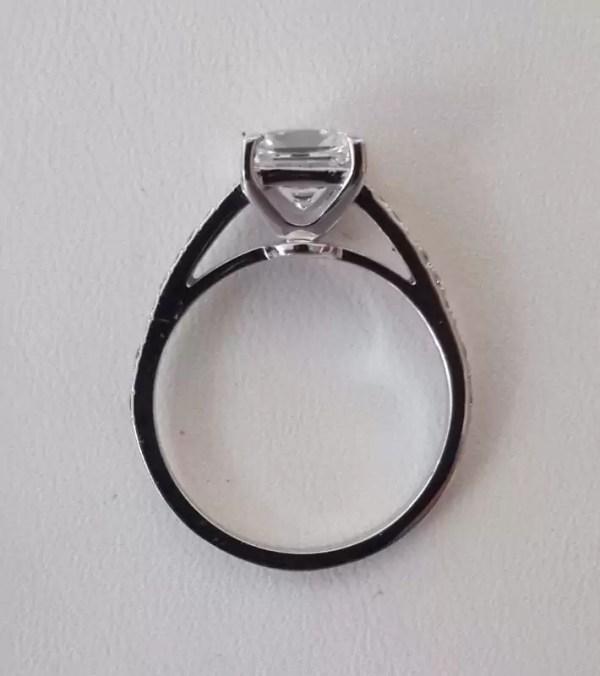 1.54 Carat Princess Cut Diamond Engagement Ring 18K White Gold 3