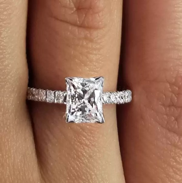 1.54 Carat Princess Cut Diamond Engagement Ring 18K White Gold 4