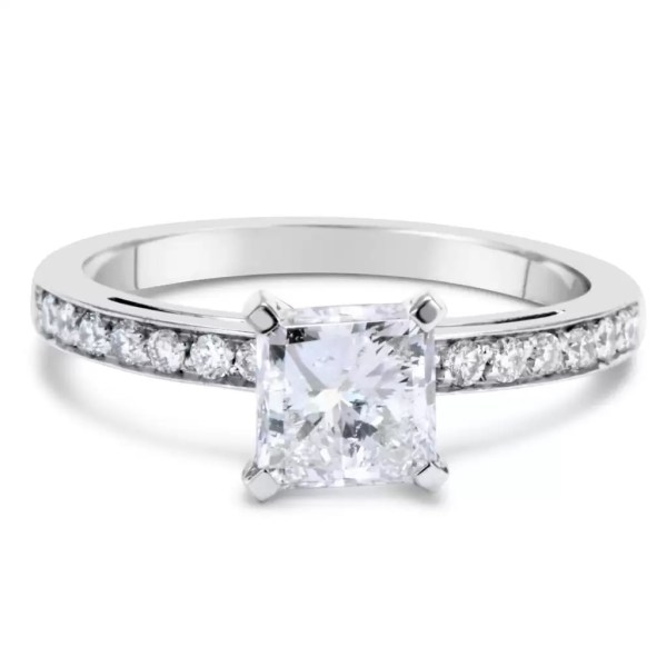 1.55 Carat Princess Cut Diamond Engagement Ring 14K White Gold 2