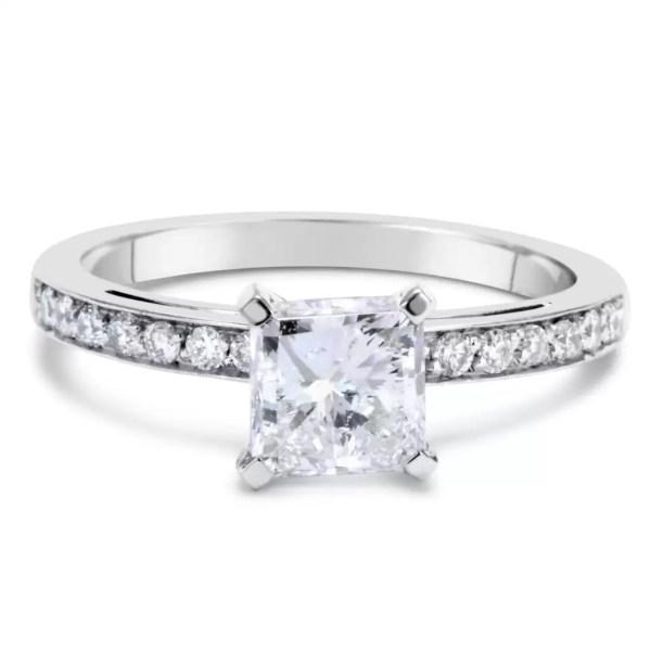 1.55 Ct Princess Cut Diamond Solitaire Engagement Ring 14K White Gold 2