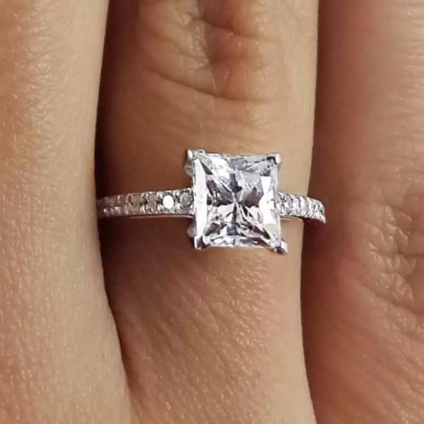 1.55 Ct Princess Cut Diamond Solitaire Engagement Ring 14K White Gold