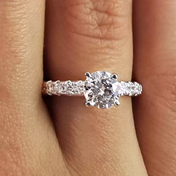 1.66 Ct Round Cut D Si1 Diamond Solitaire Engagement Ring 18K White Gold