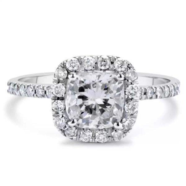 1.7 Carat Cushion Cut Diamond Engagement Ring 14K White Gold 3