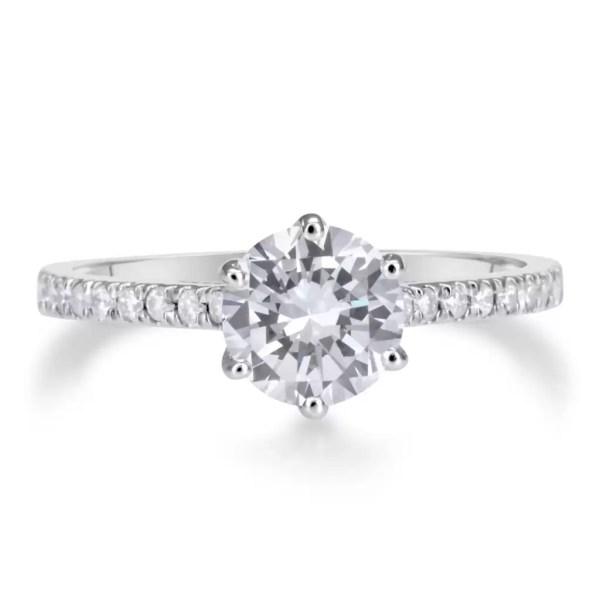 1.75 Ct Round Cut DSi1 Diamond Solitaire Engagement Ring 14K White Gold 3