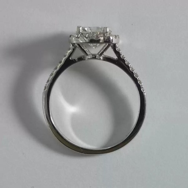 1.86 Carat Round Cut Diamond Engagement Ring 18K White Gold 3