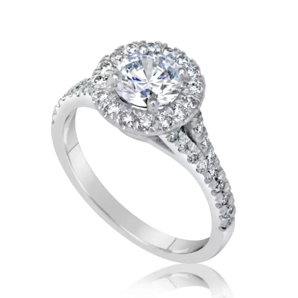 1.9 Carat Round Cut Diamond Engagement Ring 18K White Gold 3
