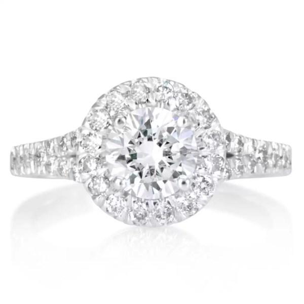 1.9 Carat Round Cut Diamond Engagement Ring 18K White Gold 4