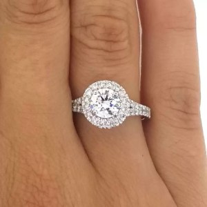 1.9 Carat Round Cut Diamond Engagement Ring 18K White Gold