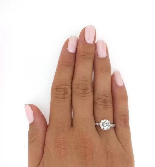 2 12 Ct Round Cut DVs2 Diamond Solitaire Engagement Ring 18K White Gold 3