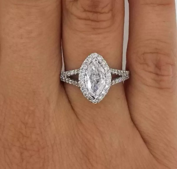 2 Carat Marquise Cut Diamond Engagement Ring 14K White Gold