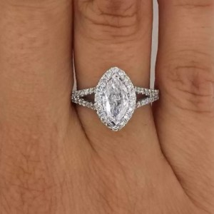 2 Carat Marquise Cut Diamond Engagement Ring 14K White Gold