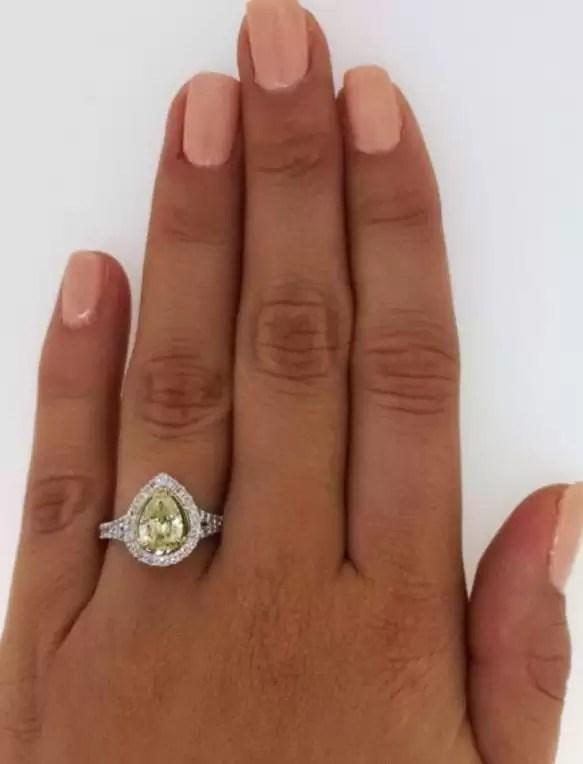 2 Carat Pear Cut Diamond Engagement Ring 18K White Gold 2