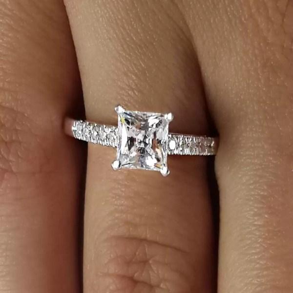2 Carat Princess Cut Diamond Engagement Ring 14K White Gold