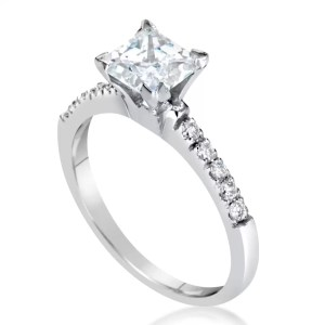 2 Carat Princess Cut Diamond Engagement Ring 14K White Gold