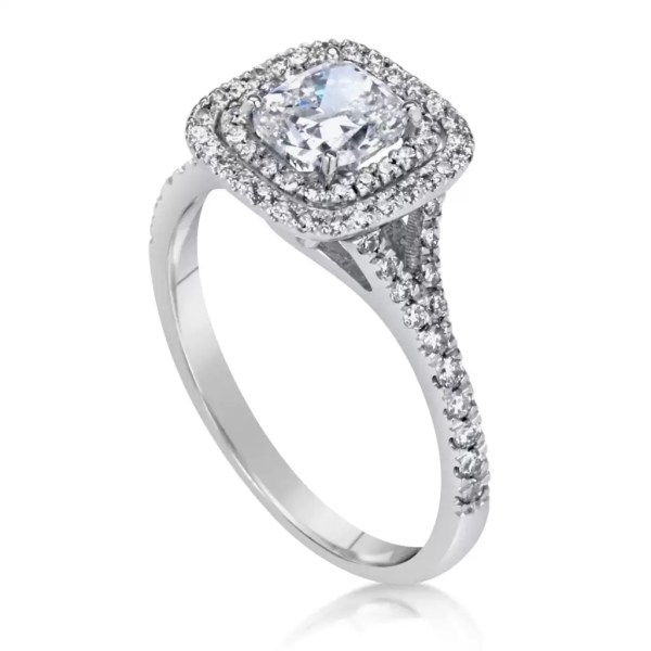 2.00 Ct Cushion Cut Diamond Solitaire Engagement Ring 14K White Gold