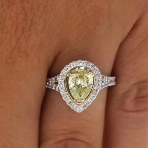 2.00 Ct Pear Shape Fancy Yellow Diamond Solitaire Engagement Ring 18K Gold