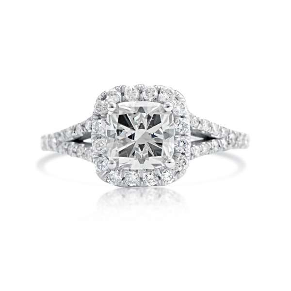 2.01 Carat Cushion Cut Diamond Engagement Ring 14K White Gold 2