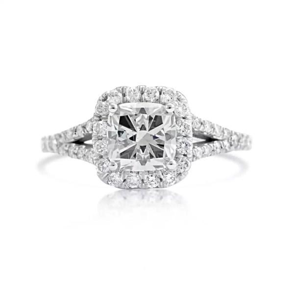 2.01 Carat Cushion Cut Diamond Engagement Ring 14K White Gold 2