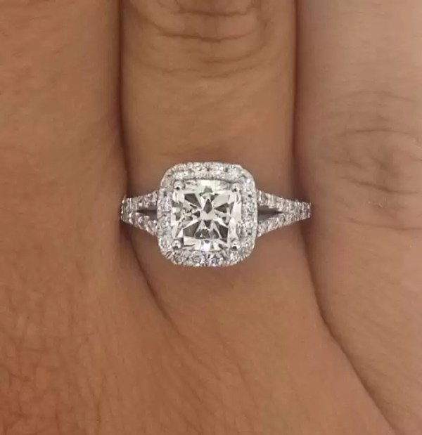 2.01 Carat Cushion Cut Diamond Engagement Ring