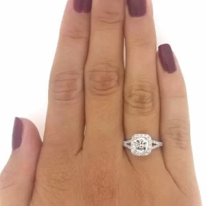 2.01 Ct Cushion Cut Diamond Solitaire Engagement Ring 18K White Gold