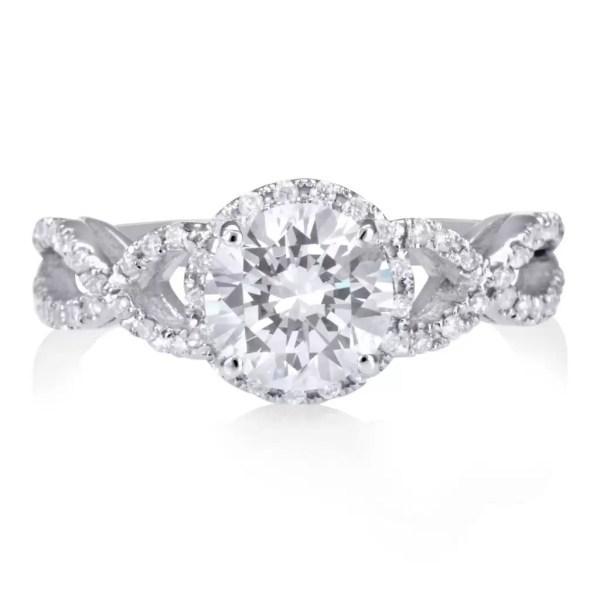2.02 Carat Round Cut Diamond Engagement Ring 18K White Gold 2