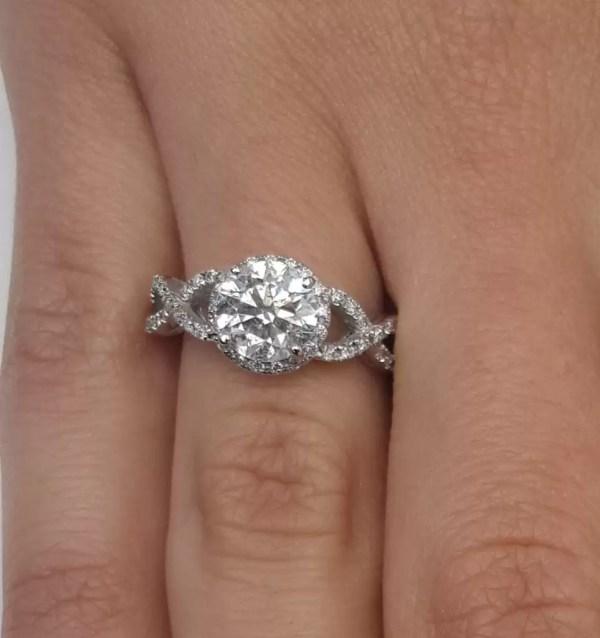 2.02 Carat Round Cut Diamond Engagement Ring 18K White Gold 3