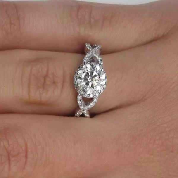 2.02 Carat Round Cut Diamond Engagement Ring 18K White Gold 4