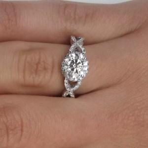 2.02 Carat Round Cut Diamond Engagement Ring 18K White Gold