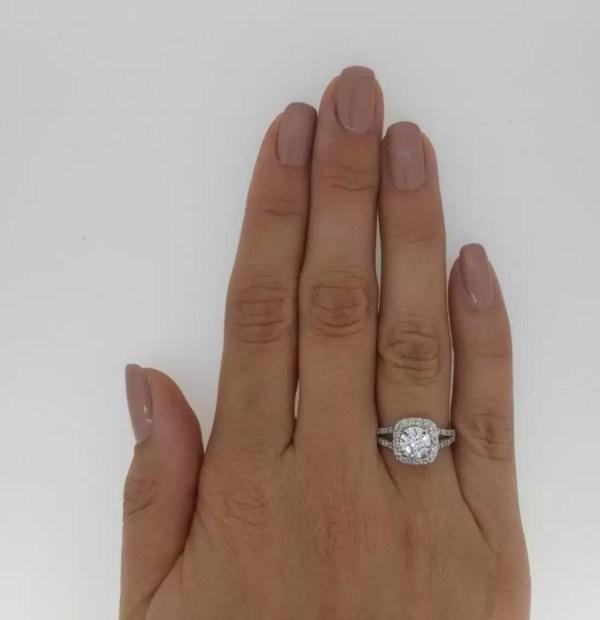 2.05 Carat Round Cut Diamond Engagement Ring 18K White Gold 2